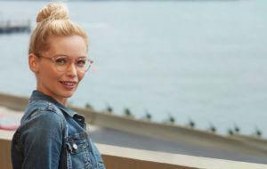 woman wearing aeropostale glasses