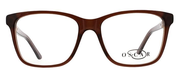 Oscar de la Renta clear frame glasses with brown trim and logo