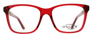 Oscar de la Renta clear frame glasses with red trim and logo