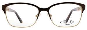 Oscar de la Renta clear frame glasses with brown trim and logo