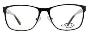 Oscar de la Renta clear frame glasses with black trim and logo