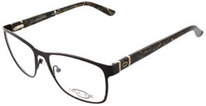 Oscar de la Renta clear frame glasses with black trim and logo