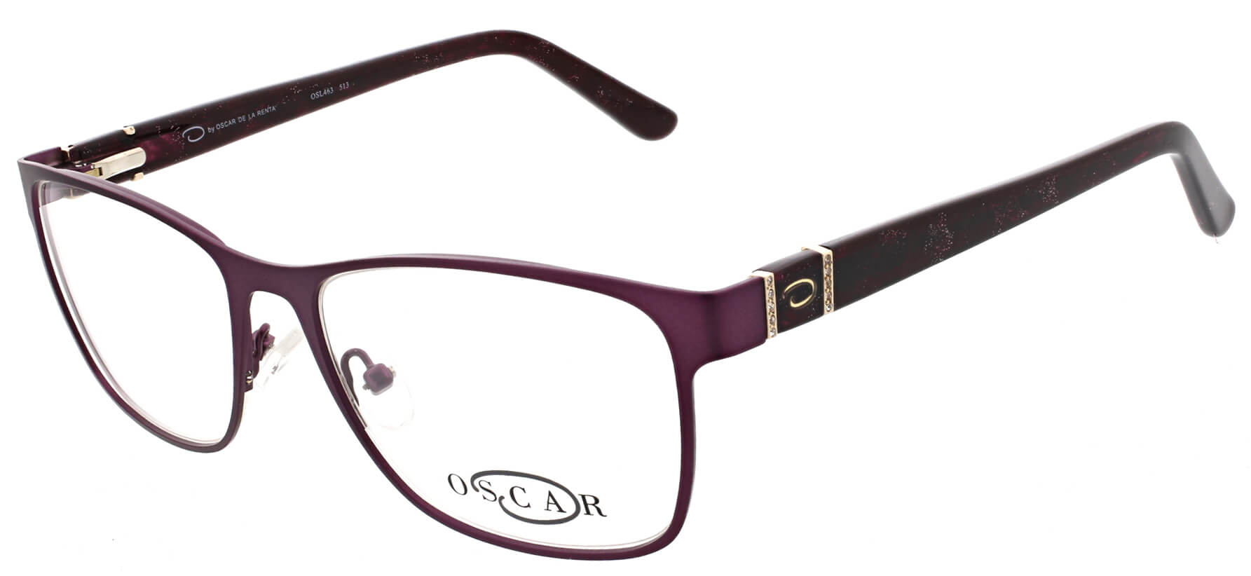 Oscar de la Renta clear frame glasses with red trim and logo