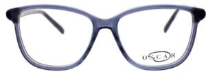 Oscar de la Renta clear frame glasses with blue trim and logo