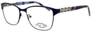 Oscar de la Renta thin round frame glasses with blue trim and logo