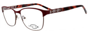 Oscar de la Renta thin round frame glasses with red trim and logo