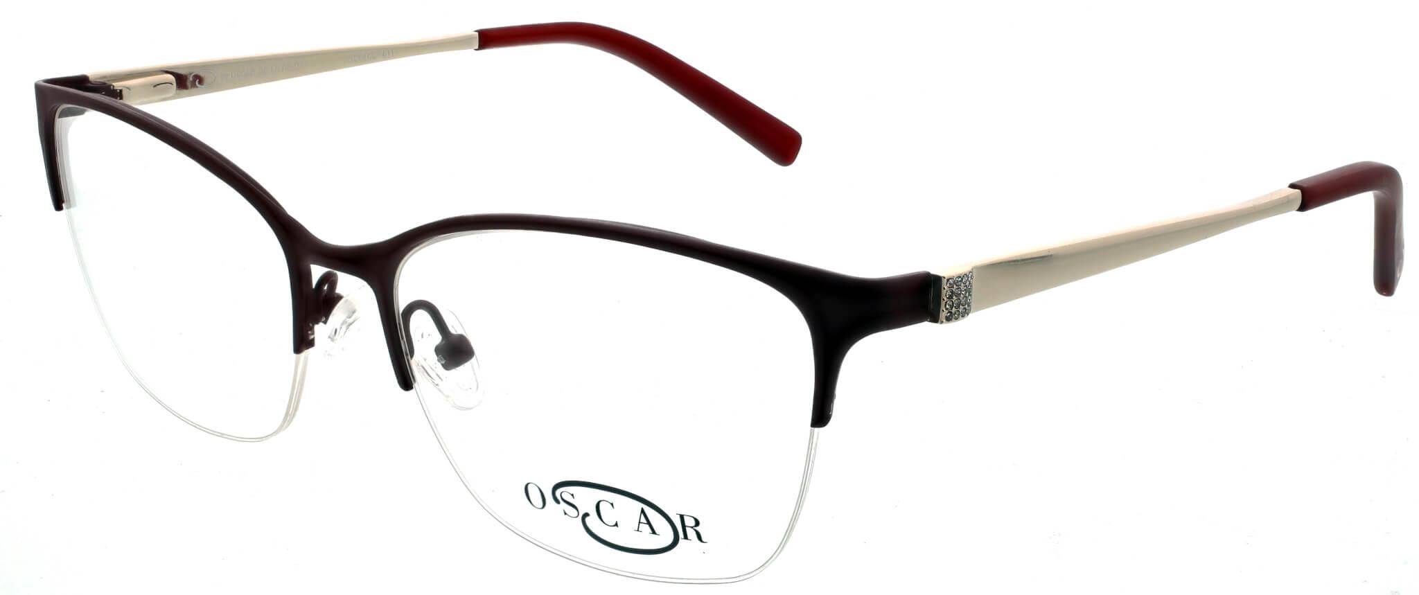 Oscar de la Renta thin round frame glasses with black trim and logo