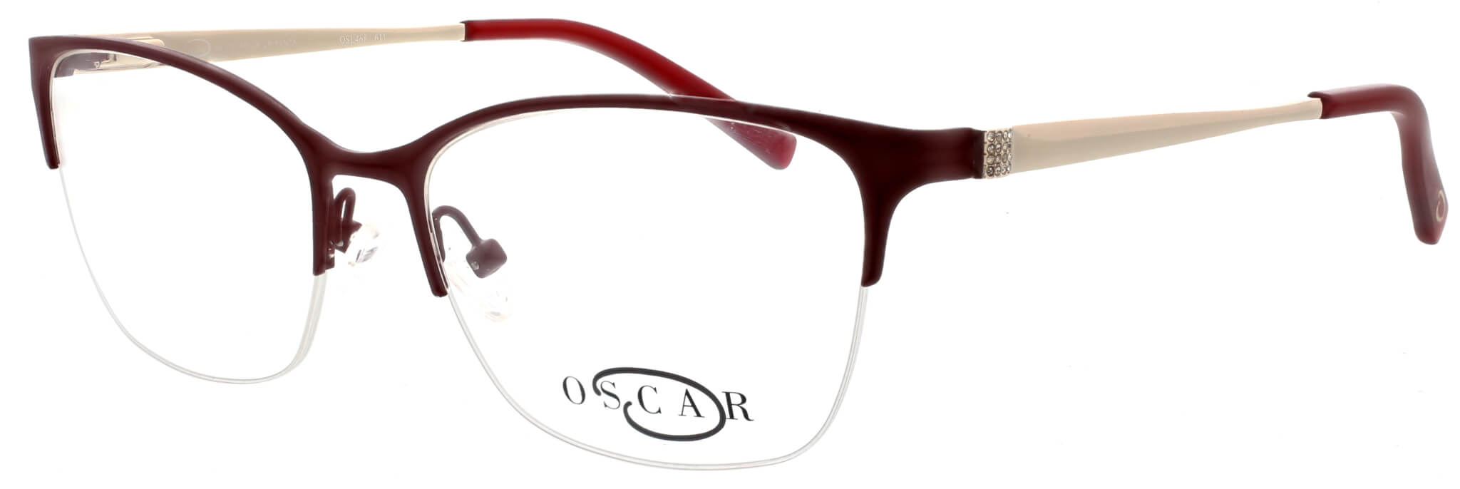 Oscar de la Renta clear frame glasses with red trim